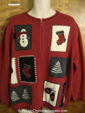Big XXXL Red Crafty Ugly Christmas Sweater
