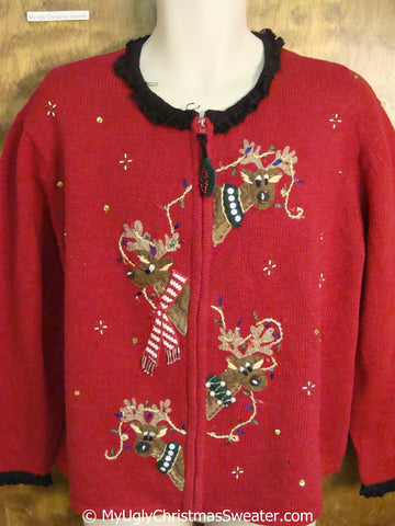 80s Peaking Reindeer Funny Ugly Christmas Sweater