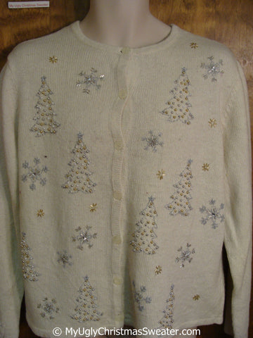 Two Sided Ornate Trees Ugly Christmas Sweater