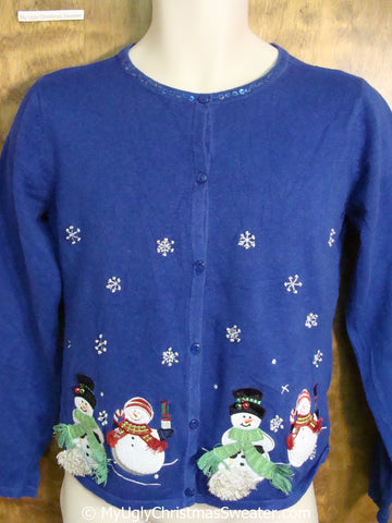 Cute Bright Blue Ugly Christmas Sweater with Snowmen