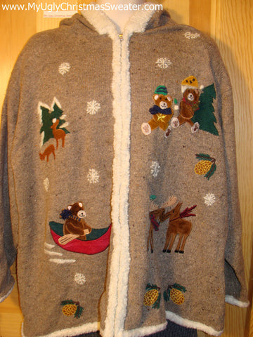 Tacky Cheap Ugly Christmas Sweater Hoodie with Festive Bears and Reindeer (f504)