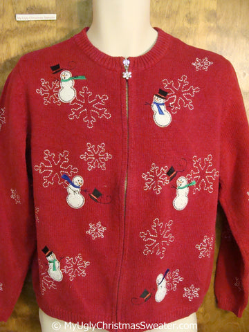 Snowmen in the Wind Red Ugly Christmas Sweater
