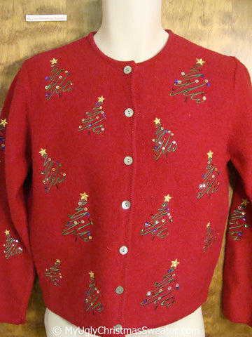 Red Festive Sequin Trees Ugly Christmas Sweater