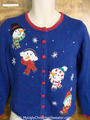 Blue Colorful Ugly Christmas Sweater with Snowmen