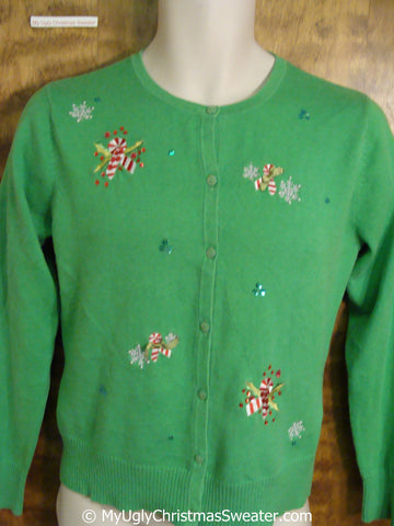 Cute Green Ugly Christmas Sweater with Candycanes