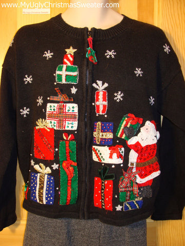 Tacky Cheap Ugly Christmas Sweater with Santa and Mountains of Gifts (f505)