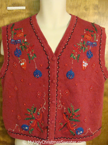 Ugly Red Christmas Sweater Vest with Colorful Ornaments