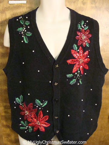 Cheap Bling Poinsettias Ugly Christmas Sweater Vest