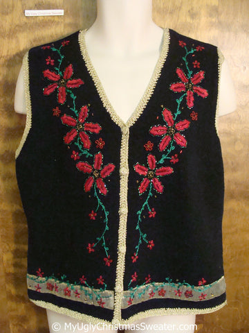 Cheap 2sided Poinsettias Themed Ugly Christmas Sweater Vest