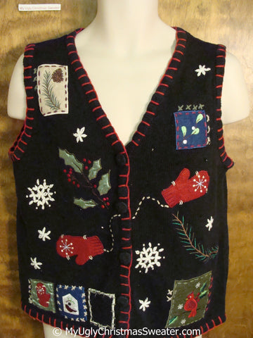 Crafty Black Ugly Christmas Sweater Vest
