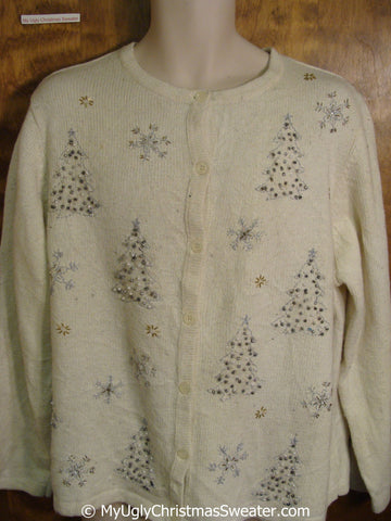 Cheap Ivory Ugly Christmas Sweater with Bling Trees