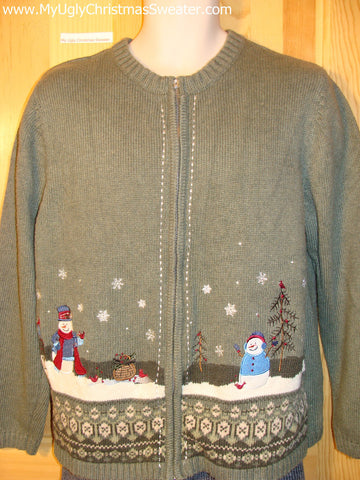 Tacky Cheap Ugly Christmas Sweater with Snowmen in a Winter Wonderland (f506)