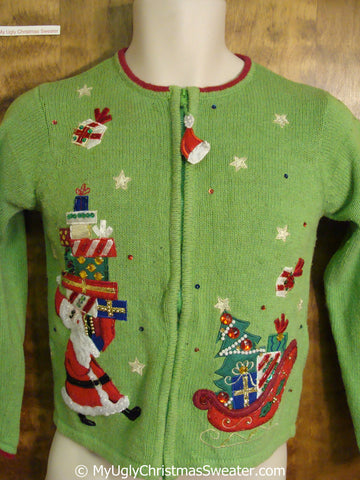 Child Green Ugly Christmas Sweater with Santa