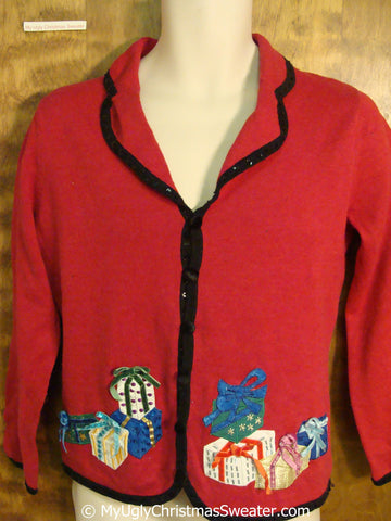Cheap Red Ugly Christmas Sweater with Gifts