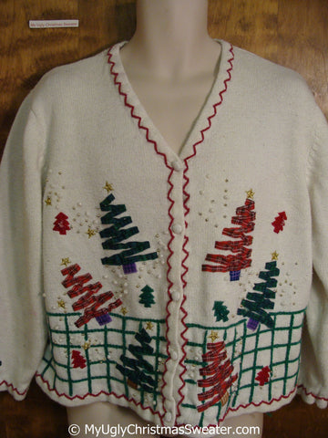 Two Sided Zig Zag Trees Ugly Christmas Sweater