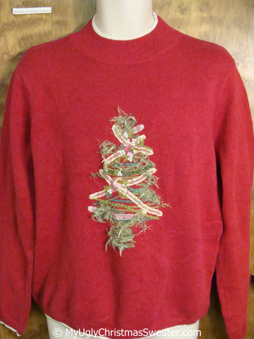 Cheap Ugly Christmas Sweater Pullover with a Fuzzy Tree