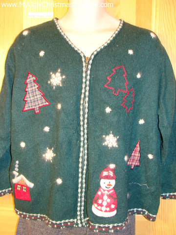 Tacky Cheap Ugly Christmas Sweater Winter Wonderland Design on Front and Back Crafty Snowmen and Plaid Trees (f507)