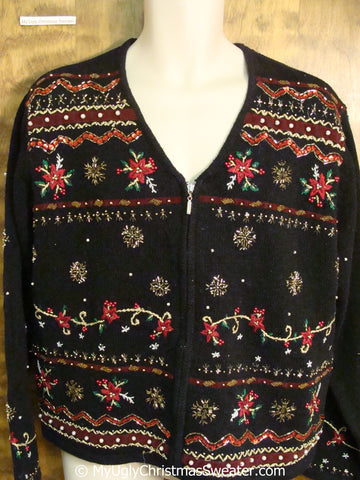 Cheap Tacky Christmas Sweater with Poinsettias
