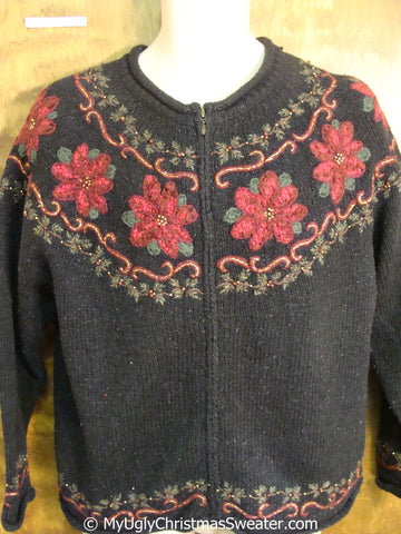 Cheap Horrible 2sided Ugly Christmas Sweater with Poinsettias