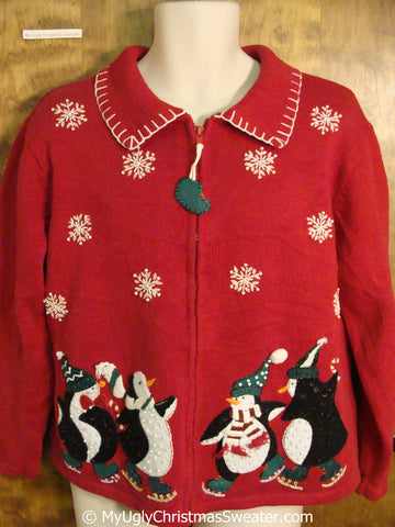 Cute Penguins Skating 80s Ugly Christmas Sweater