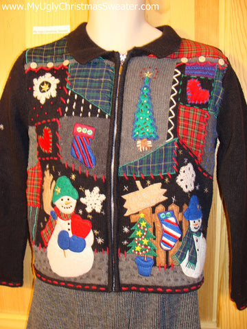 Tacky Christmas Sweater with North Pole Winter Wonderland Crafty Snowmen  (f508)
