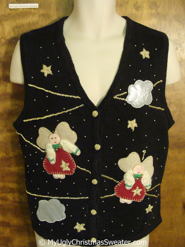 Plump Flying Angels Ugly Christmas Sweater Vest