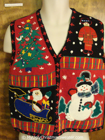 Ugly Christmas Sweater Vest with Nutcracker, Santa, Tree and Snowman