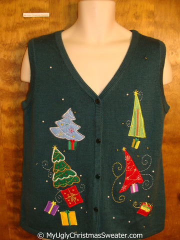 Fancy Trees Green Ugly Christmas Sweater Vest