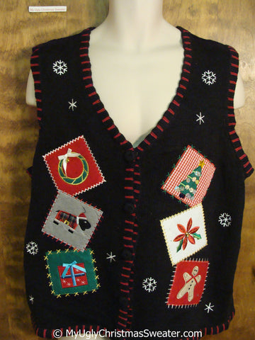 Crafty Patchwork with Embroidery Ugly Christmas Sweater Vest