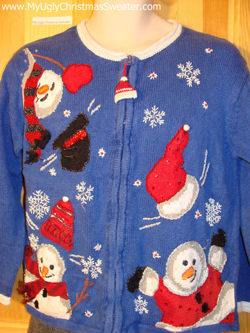 Tacky Cheap Ugly Christmas Sweater with Tumbling Happy Snowmen (f509)