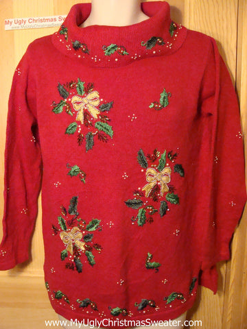Tacky Red Ugly Christmas Sweater with 80s Style and Bling Bows and Ivy  (f50)