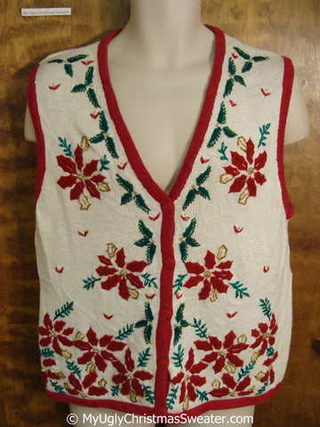 Funny Cheap Christmas Sweater Vest with Poinsettias