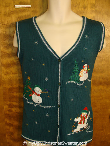 Funny Green Christmas Sweater Vest with Snowmen