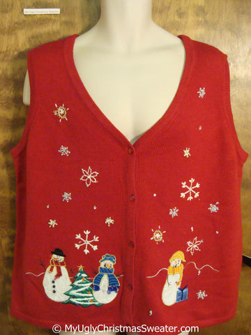 Cheap Christmas Sweater Vest with Snowmen