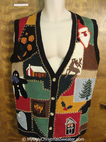 Cheap 80s Patchwork Christmas Sweater Vest