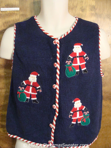 Cheap Santa Christmas Sweater Vest with Candycane Trim