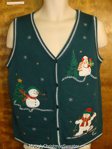 Green Cheap Christmas Sweater Vest with Snowmen