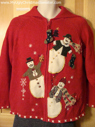 Tacky Cheap Ugly Christmas Sweater with Festive Carrot Nosed Snowmen on Front and Back (f510)