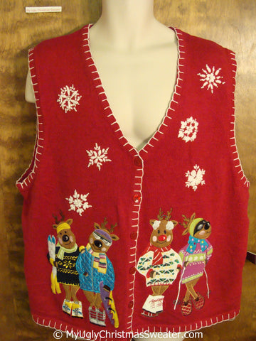 Funny Ski Fashion Bears Cheap Christmas Sweater Vest