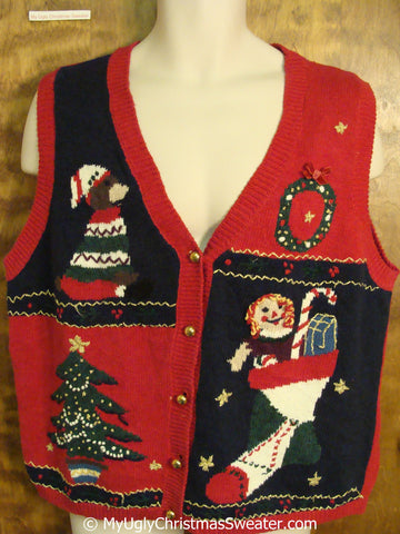 Cheap Christmas Sweater Vest with Bear and Raggedy Ann