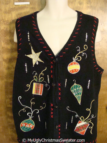 Cheap Christmas Sweater Vest with Ornaments