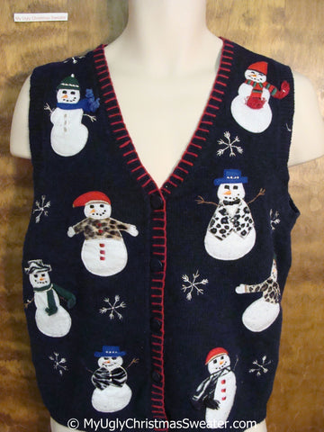 Funny Snowmen in Animal Prints Cheap Christmas Sweater Vest