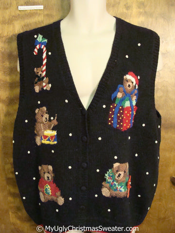 Funny Cute Bears Cheap Christmas Sweater Vest
