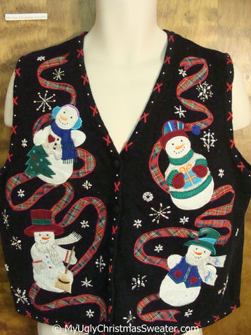 Snowmen with Plaid Ribbon Cheap Christmas Sweater Vest