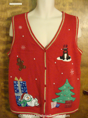 Cheap Red Xmas Vest with Reindeer, Snowman and Tree