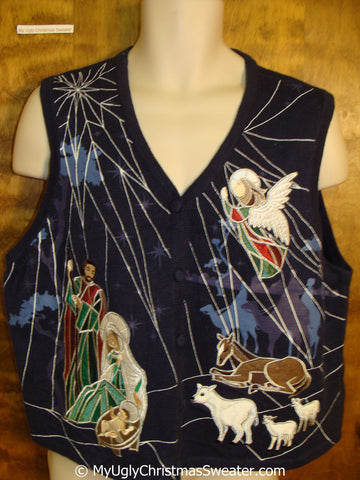 BEST Mary and Jesus Religous Christmas Sweater Vest
