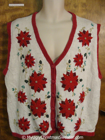 Cheap Big Size Poinsettia Themed Xmas Sweater Vest