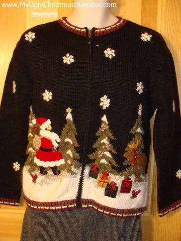 Tacky Cheap Ugly Christmas Sweater Festive Nightime Winter Wonderland with Santa and Trees (f512)