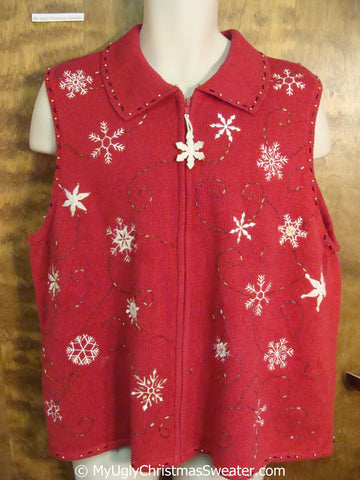 Classic Snowflake Themed Cheap Christmas Sweater Vest