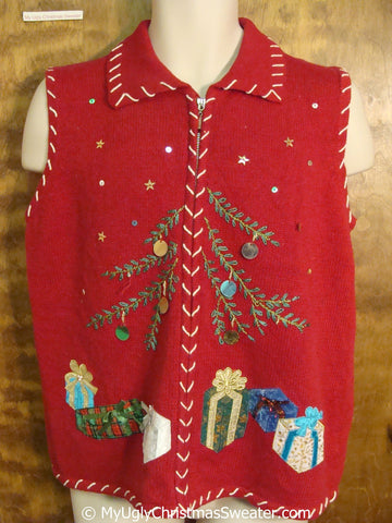 Cheap Red Christmas Sweater Vest with Tree and Gifts